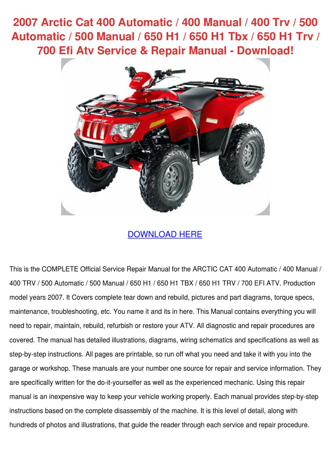 arctic cat 400 owners manual